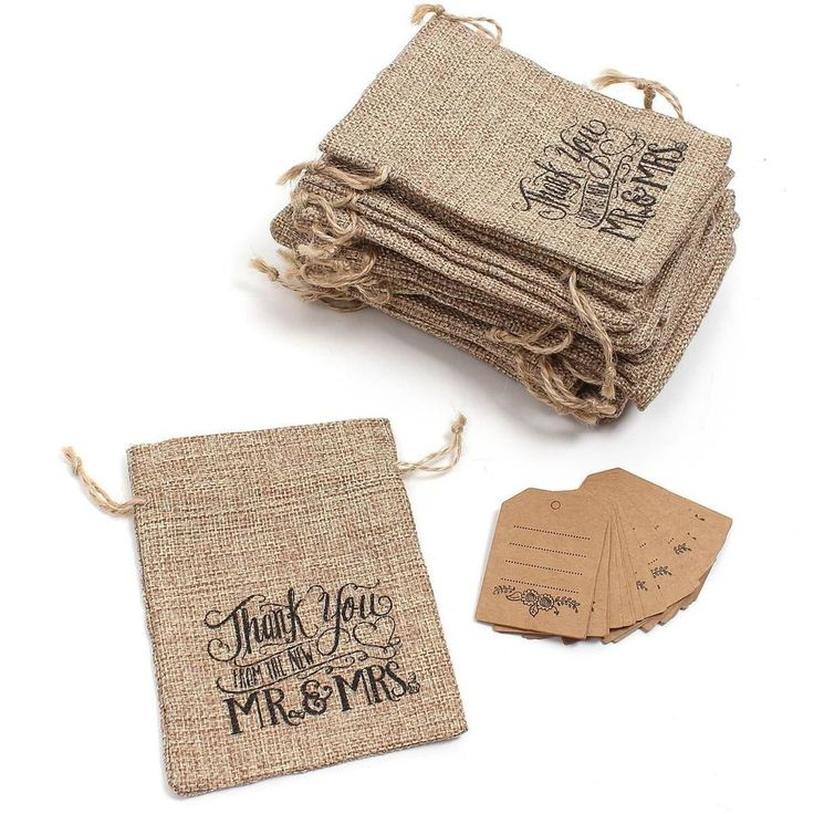 20x Docrafts Happily Ever After Hessian Drawstring Bag Wedding Favour Pouch Gift
