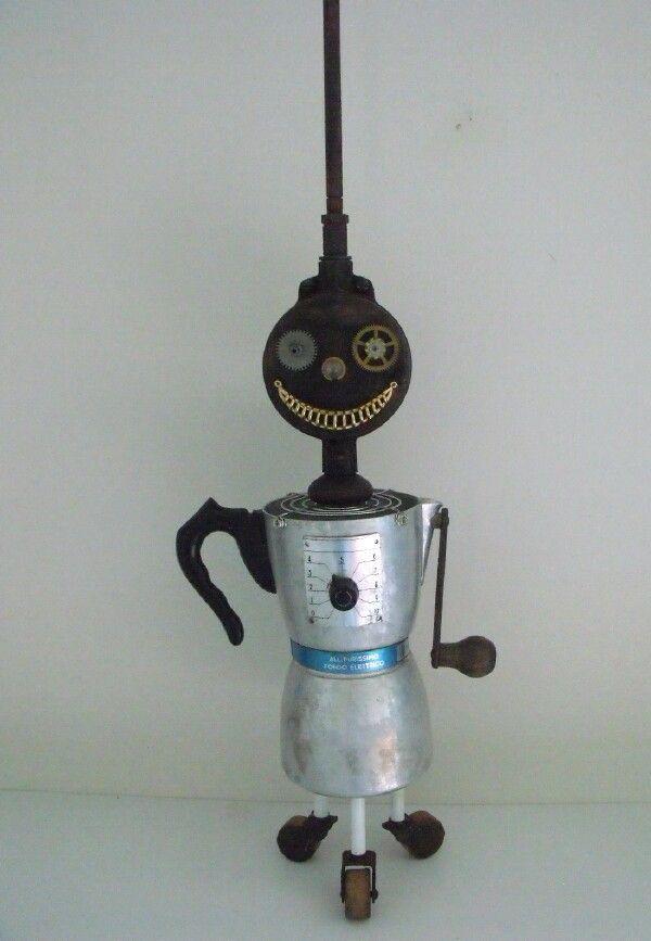 junkbotworld.com - ROBOT FOR SALE HANDMADE BY SENIOR CITIZEN ~ VINTAGE DRILL CRANK ANTIQUE WHEELS