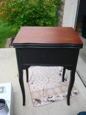 Striaed top paint effect...sewing machine cabinet