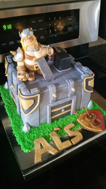Clash Of Clans birthday cake.   Level 6 clan castle.