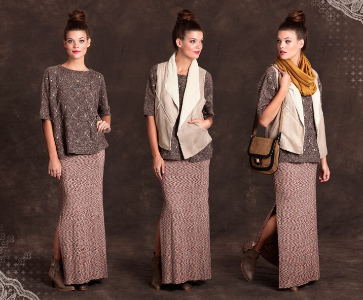 Maxi dress, sweater, vest and scarf.