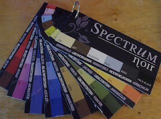 I cut off the top of the Spectrum Noir marker packages and out on a ring for reference to color families and specific marker names. easy peasy !
