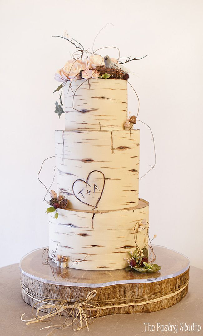 Birch Wood Wedding Cake Custom Designed by The Pastry Studio, Daytona Beach, Florida