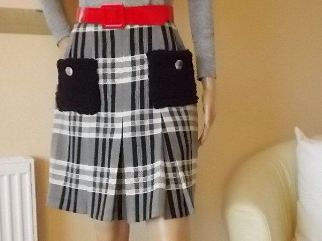 Trending TARTAN Mini Skirt Size 12Uk, Womens Clothing, Made in Scotland Menzies Tartan,  2 x Black Wool Pockets, Box Pleated Fashion Skirt. by DesirableVintage on Etsy https://www.etsy.com/listing/285625205/trending-tartan-mini-skirt-size-12uk