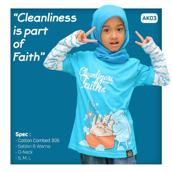 Kaos Anak Muslim Bilhikma AK03 Tema : Cleanliness is Part of Faith