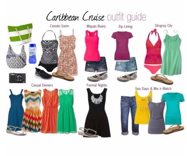 Idea that was provided on what clothes to pack for a 5 day cruise to the Caribbean.
