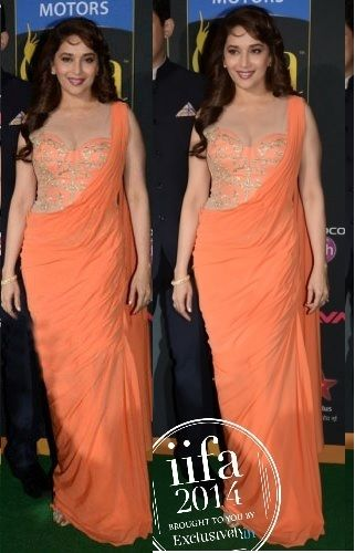 Madhuri Dixit in Pretty Peachy #Saree Gown by http://SonaakshiRaaj.in/ at IIFA 2014