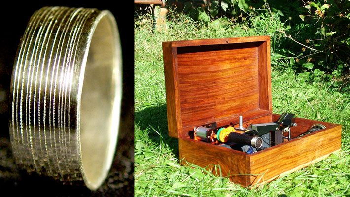 """""""talking ring"""" has a 20 second recorded message – jerram's proposal – etched onto its surface. the message can be played back with a miniature record player"""