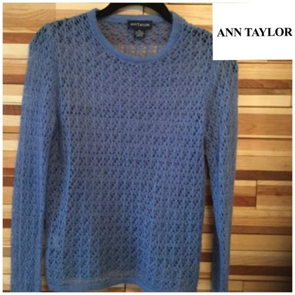 SHEER ANN TAYLOR  Blue Ann Taylor see through knit top. Very pretty and Excellent condition  Ann Taylor Tops