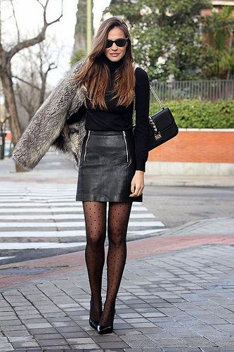 Love the dotted tights, but would swap the mini for a leather pencil skirt.