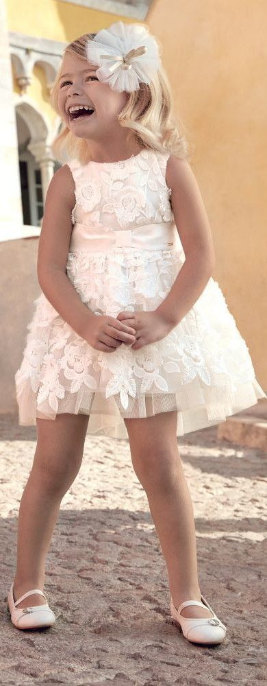 Gorgeous! Love this Mayoral Girls Ivory Tulle Party Dress. Perfect special occas…