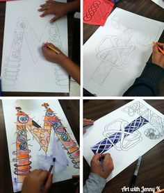 Students love making Celtic Knot paintings of their last name initial for St. patrick's Day art projects!