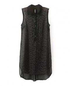 Black Medium Style Pullover Leopard Print Perspective Sleeveless Chiffon Blouse