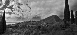 Seaside Small Town by cinema4design Panoramic photo of seaside small town with mountain. Black-and-white panoramic image. Big Size Art Photo Prints. #canvas #prints #bwphoto #panoramic #landscapes