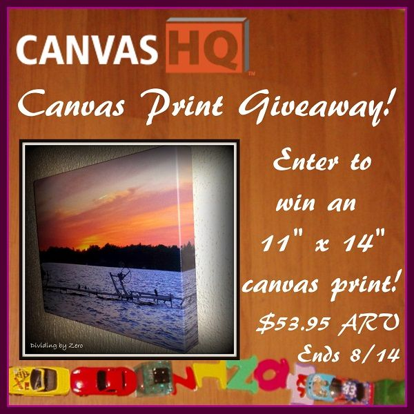 "Enter for your chance to #win a custom 11"" x 14"" canvas print from #CanvasHQ! $53.95 ARV! #Giveaway ends 8/14."