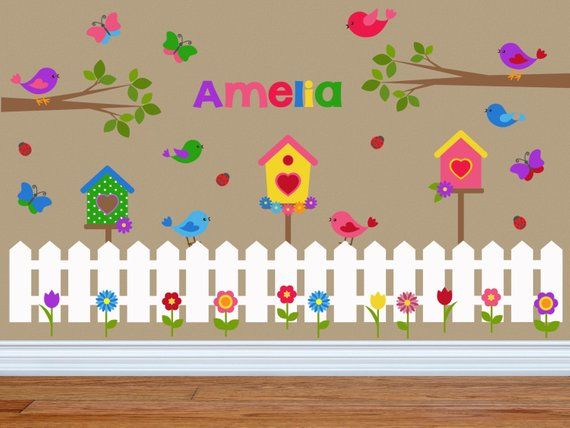 Birdhouse Wall Decals For Girls Room Little Birds Wall Decals Set Includes Personalized Name Flowers Butterf Flower Wall Decals Kids Wall Decals Wall Decals