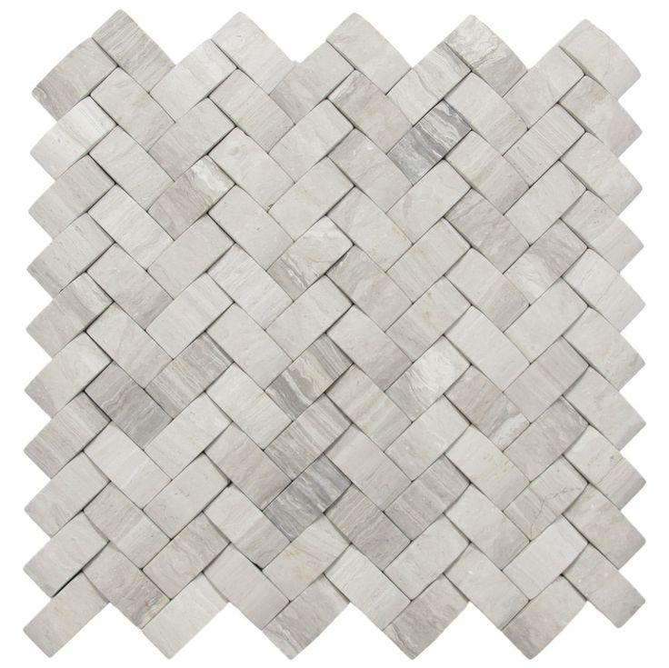 3d Light Grey Basket Weave Stone Tile Fireplaces Grey