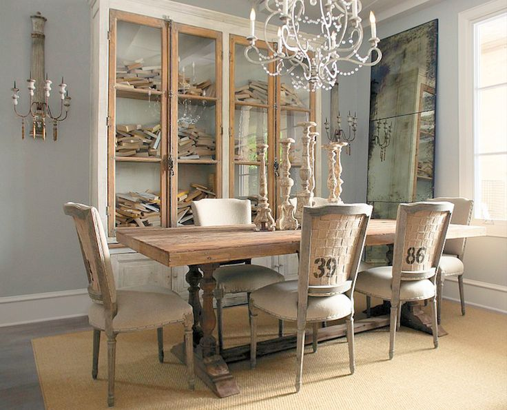 French nail heads and those numbered chairs, with burlap backs. From the  Aidan Gray line. Love all of these colors plus the rustic elegance - 81 Best French Country Dining Room Images On Pinterest Buffet