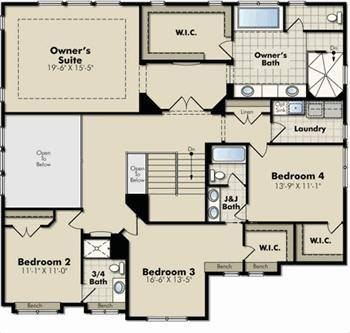 upstairs floor plan giant owners suite j bathroom for 2 bdrms laundry upstairs