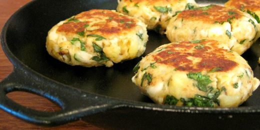 Feta, basil and fish, potato cakes
