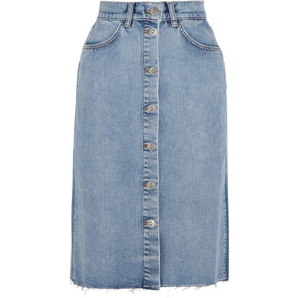 M.i.h Jeans Park denim midi skirt (3 190 ZAR) ❤ liked on Polyvore featuring skirts, blue, calf length denim skirts, blue skirt, calf length skirts, mid-calf skirts and denim skirt