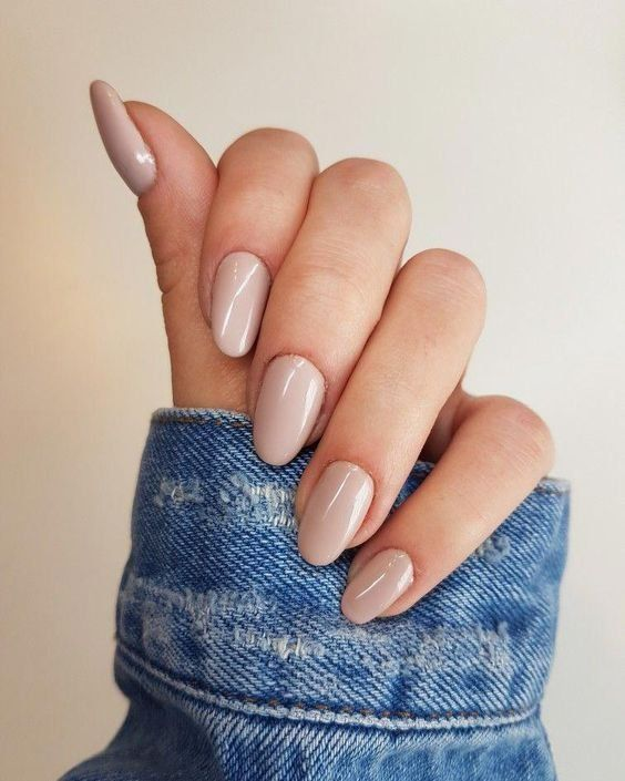 Beauty | Nails | Nude nailpolish | Nude nails | Denim jacket | Long nails | Beig…