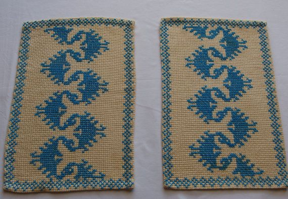 Vintage Pair Embroidered Doilies Crossstitch by VintageHomeStories