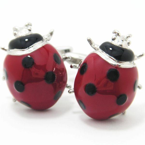 【カフス】真っ赤なてんとう虫のカフス/カフスボタン/カフリンクス