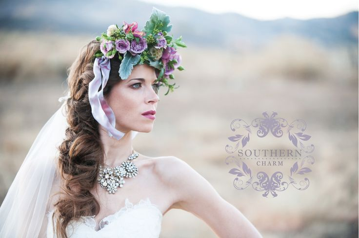 We just love this floral crown we made. Dusty miller, lavender spray roses, scabiosa pods and helleborus!!