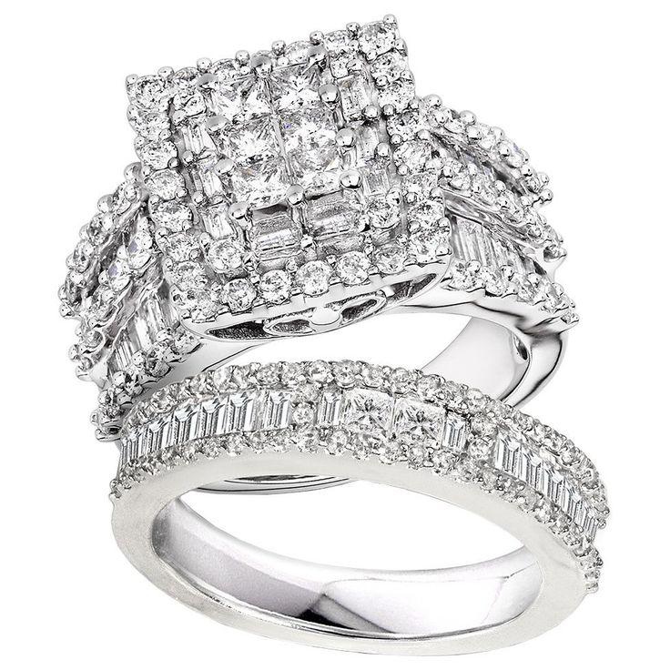 Demonstrate your love and commitment when you give this lovely diamond bridal ring set as a gift to the object of your affection. The set features six princess-cut diamonds set in 14-karat gold, creating a stunning appearance sure to impress.