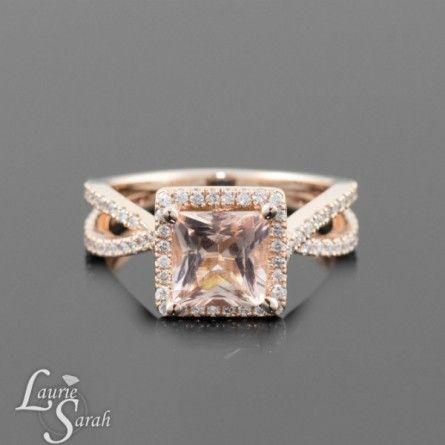 Rose Gold Princess Cut Morganite Engagement Ring. In love.