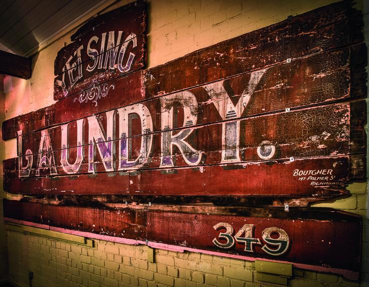 Melbourne's Chinese Museum RoyalAuto February, 2016. Laundry Sign.Photo: Anne Morley. #Chinatown #ChineseNewYear #MelbourneChineseMuseum #Sign #OldSign #Signage #RetroSignage #Laundry