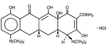 Minocycline Hydrochloride, also called minocycline HCL, is a broad-spectrum tetracycline antibiotic, and has a broader spectrum than the other members of the group. It is a bacteriostatic antibiotic, classified as a long-acting type. As a result of its long half-life it generally has serum levels 2–4 times that of the simple water-soluble tetracyclines. The CAS`Number`is 13614-98-7.