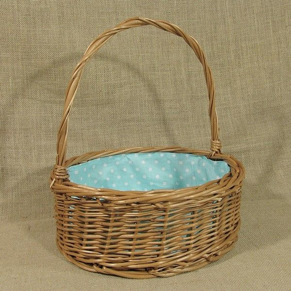 """Wiklinowy koszyk """"Ogrodowy"""" z wyściółą (białe kropki na turkusowym tle)"""