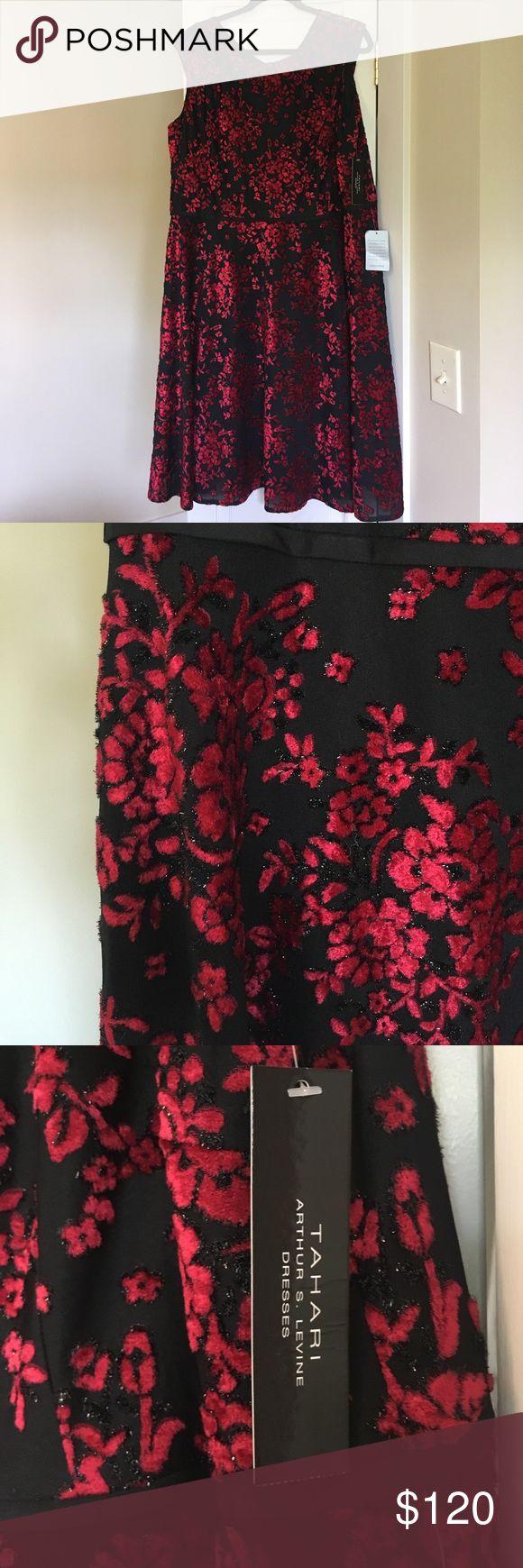 Tahari Size 16W Black and Garnet Dress Beautiful Black Dress with Garnet Floral Pattern Tahari Arthur S. Levine Tahari Dresses Midi