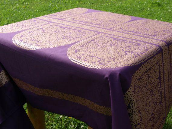Marimekko Tablecloth eggplant purple gold decor Scandinavian