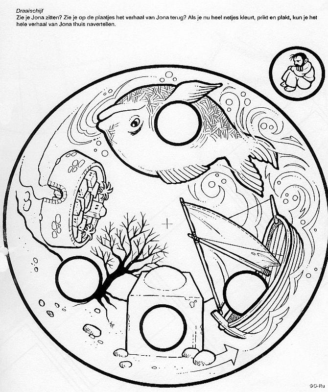 Rueda de jonás. Vaciar los círculos y pegar en un folio debajo el dibujo de jonás. Poner un encuadernador en el centro y  girar la rueda
