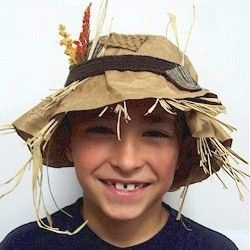 Easy and inexpensive Scarecrow Hat you can make for an easy Halloween costume. More Halloween crafts at freekidscrafts.com