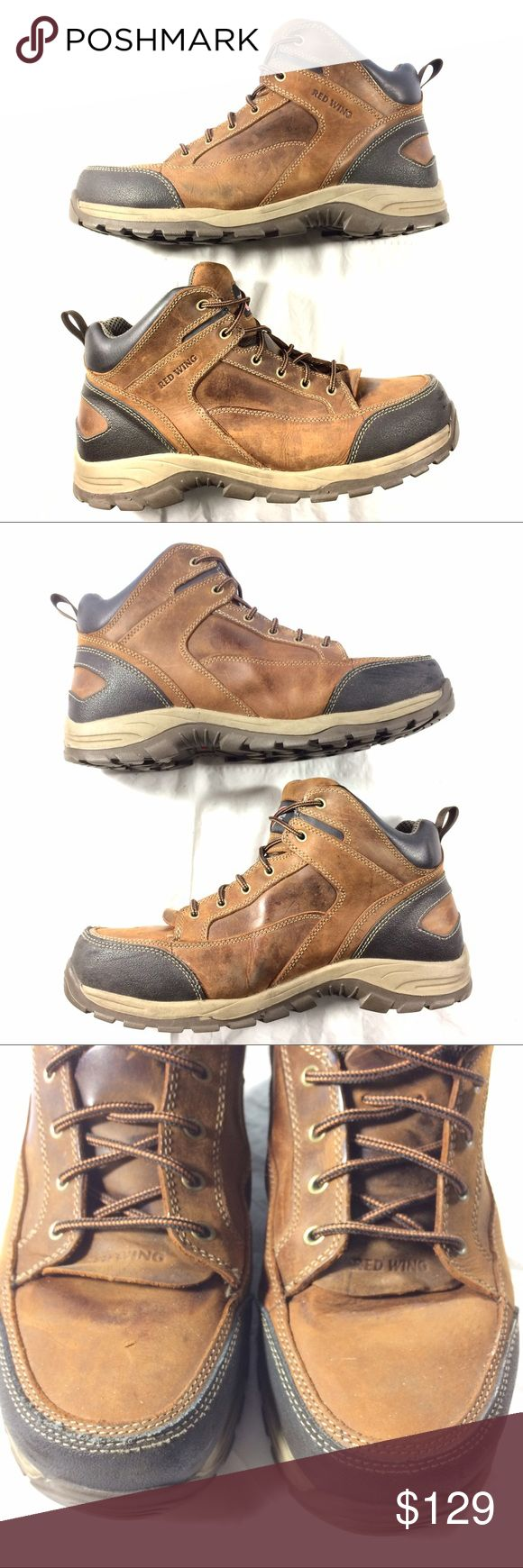*SOLD on eBay** Tough Steel Toe Work Boots Leather Red Wing Shoes quality preowned great condition inside and out. Steel toes for your husband and/or sons safety. See photos for details. Thank you for referring friends to our closet! Red Wing Shoes Shoes Boots