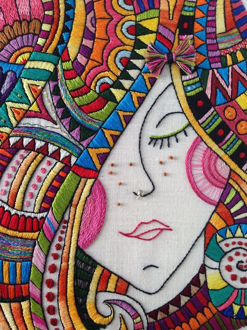 "♒ Enchanting Embroidery ♒ embroidered hippie portrait - ""Thinking in colors."""