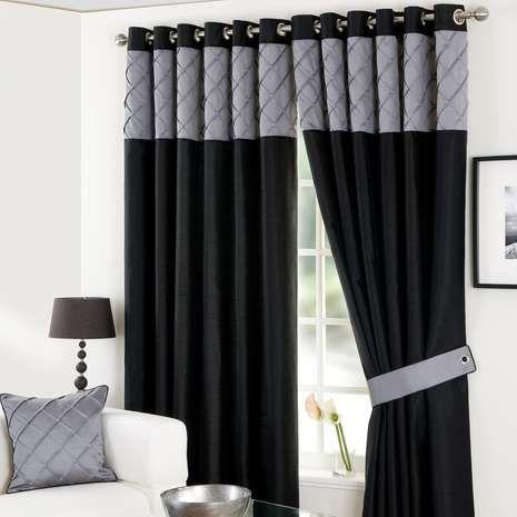Black Parisian Eyelet Lined Eyelet Curtains