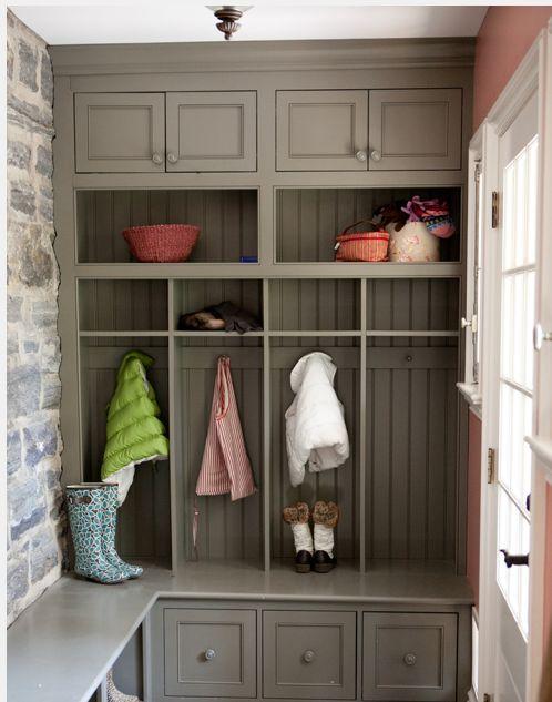 Painted Mud Room Cabinets