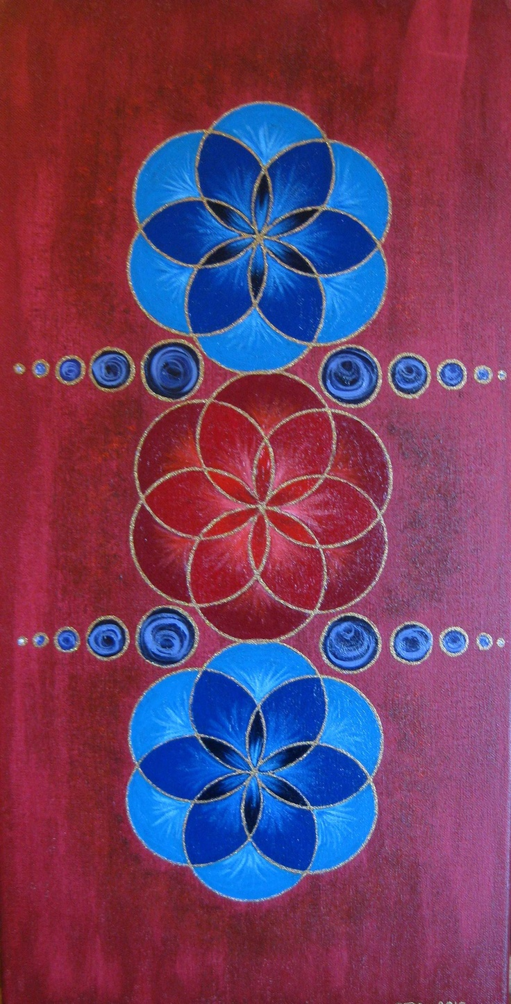 """Breathe"" ~ Artwork by Sharon Morgan. acrylics on canvas #mandala #redflower #flowermandala"
