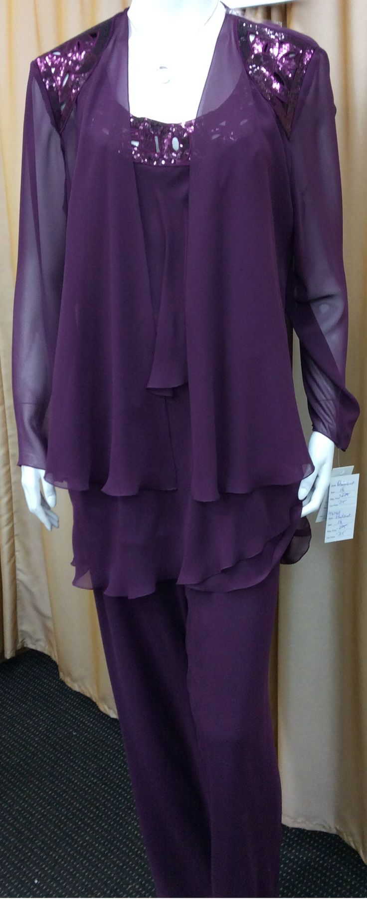 3 Pieces Chiffon Pant Suit Pull On Pants Fully Lined