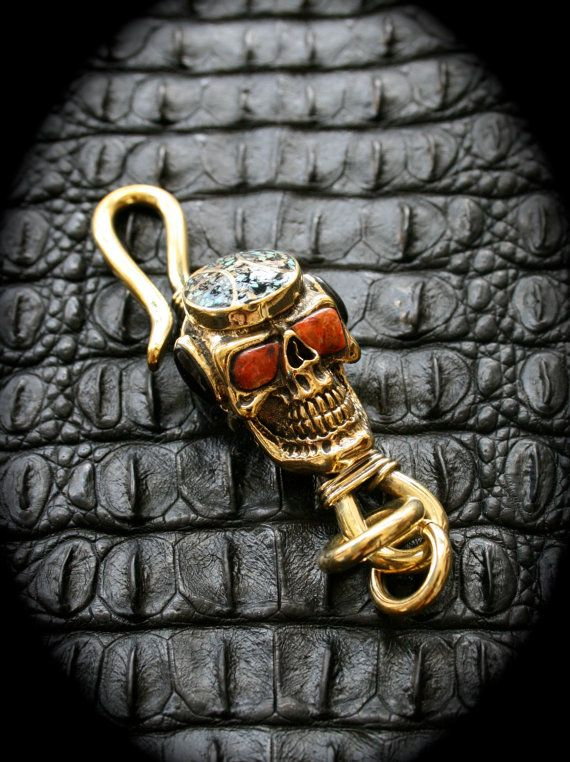 Skull Brass Hook Key Chain/Key Holder with Inlaid Stones by Mygoth