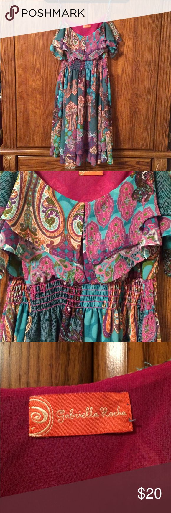 Gabriella Rocha Sundress Adorable Gabriella Rocha Sundress. Beautiful colors. Turquoise, Fuchsia, Green & Cream. Size Medium. Gabriella Rocha Dresses Mini