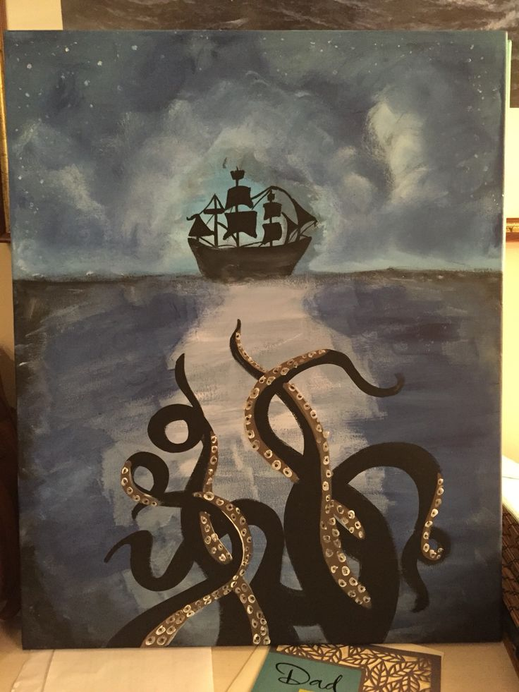 bathroom art hand painted canvas giant octopus
