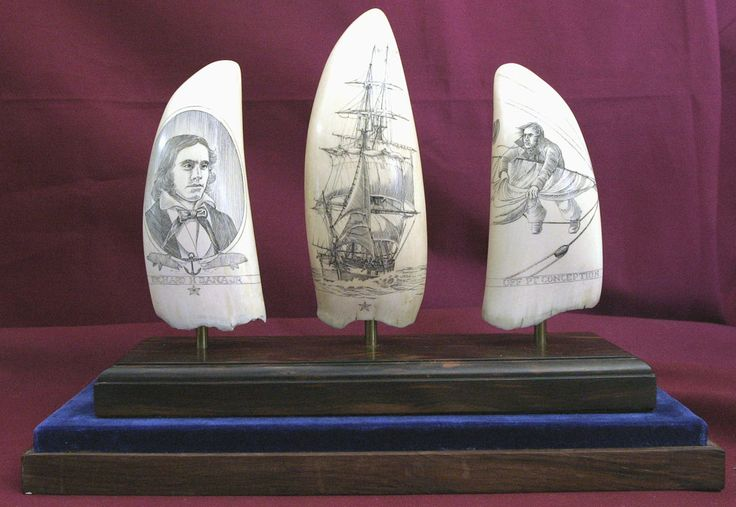 - Three Scrimshaw Whale Tooth Set Commemorating Richard Henry Dana - Vallejo Maritime Gallery, 18th century marine art, 19th century marine antiques, 19th century marine art, 20th century marine art, Marine art, Maritime paintings.