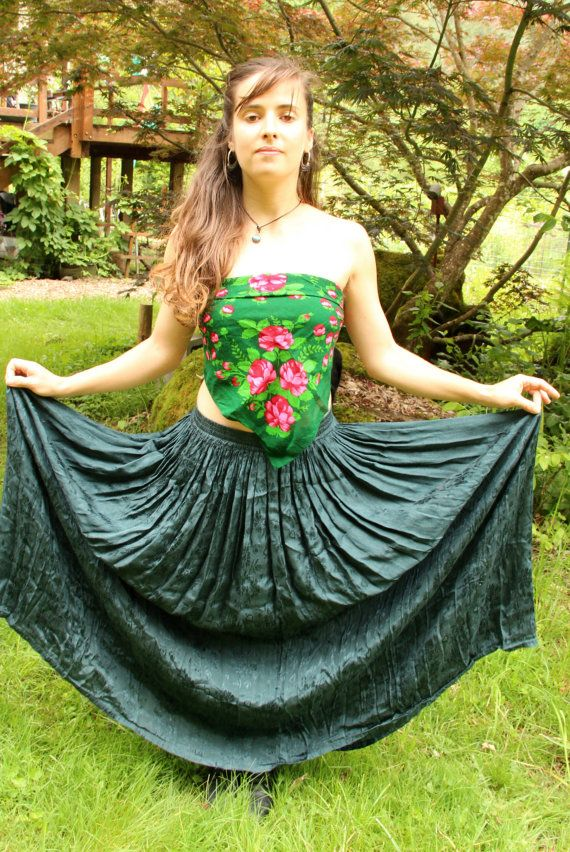 Vintage 90's Dark Green Silky Rayon Made in India by TheMiriad