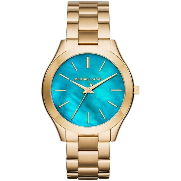 Michael Kors Slim Runway Turquoise Mother-Of-Pearl & Goldtone... ($205) ❤ liked on Polyvore featuring jewelry, watches, apparel & accessories, dial watches, stainless steel wrist watch, water resistant watches, michael kors jewelry and stainless steel bracelet watch